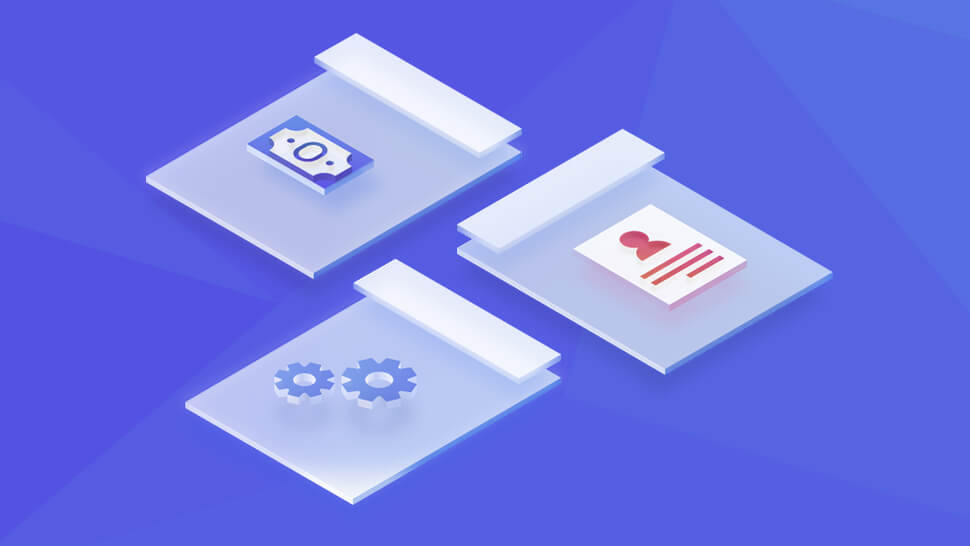 Cog , Document and Money Icons