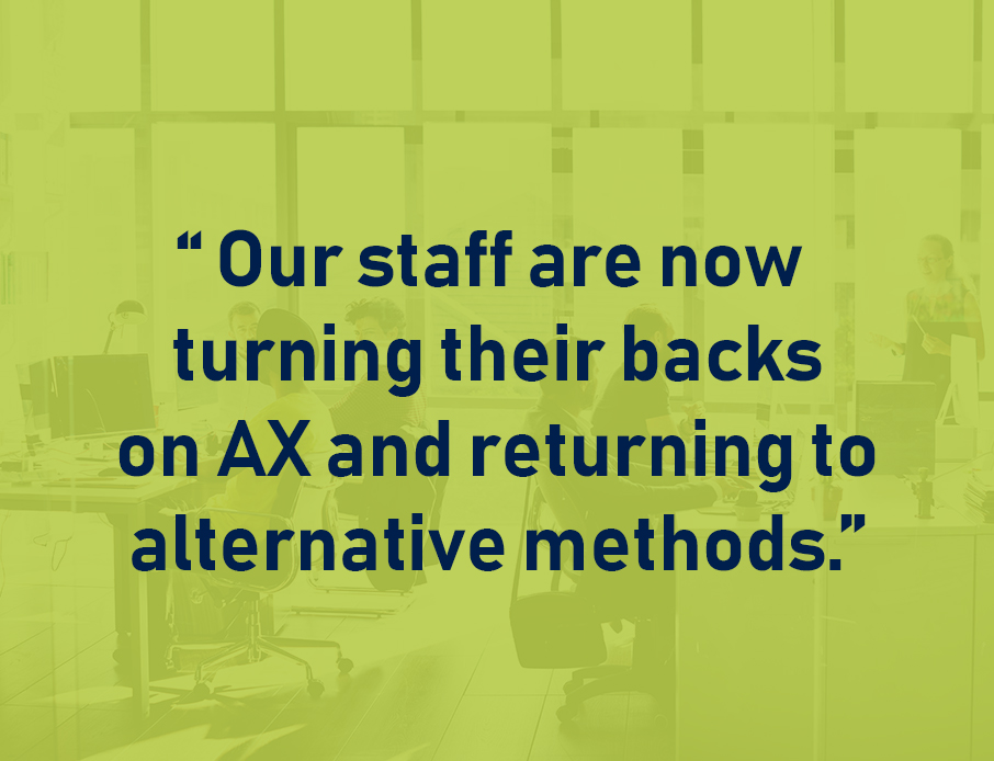 Quote: Our Staff Are Now Turning Their Back on Ax and Returning to Alternative Methods